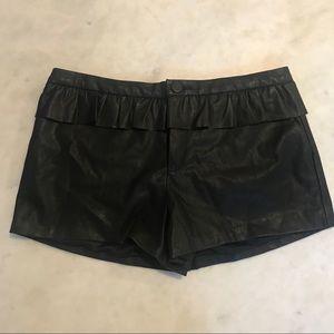 NWOT Zara Faux Leather Black Shorts W/ Ruffle WB